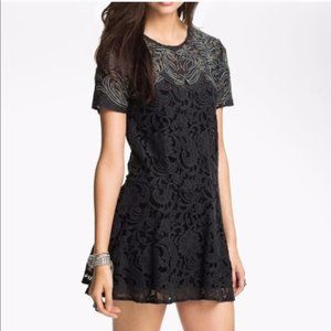 Free People Lace Embroidered Shift Dress Black